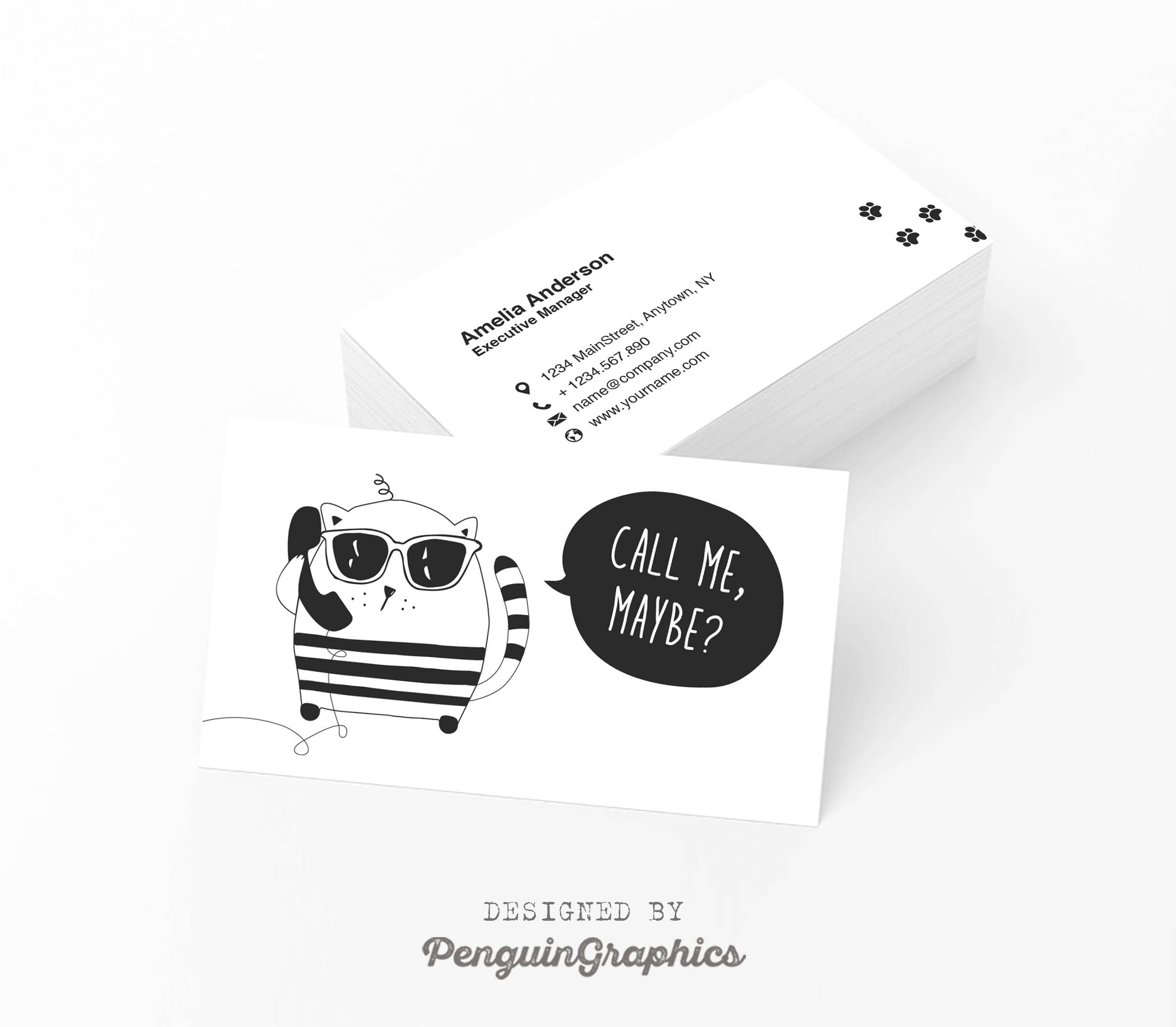 Business Card Funny Business Card Design Custom Contact Card Printable Illustrated Card Digital Files Cornelia Cat Col Cartao De Visita Carta Banho E Tosa