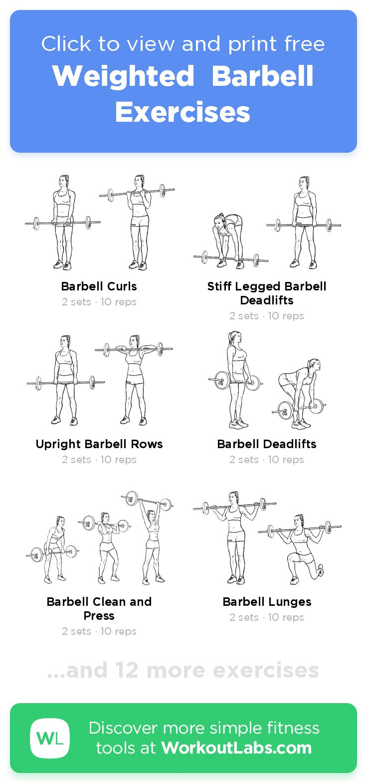 Weighted Barbell Exercises · Free workout by WorkoutLabs Fit