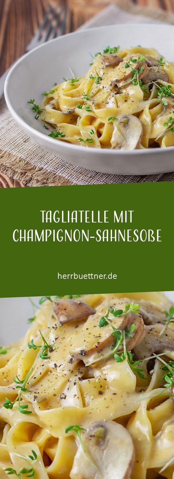 Photo of Tagliatelle mit Champignon-Sahnesoße und Kresse.