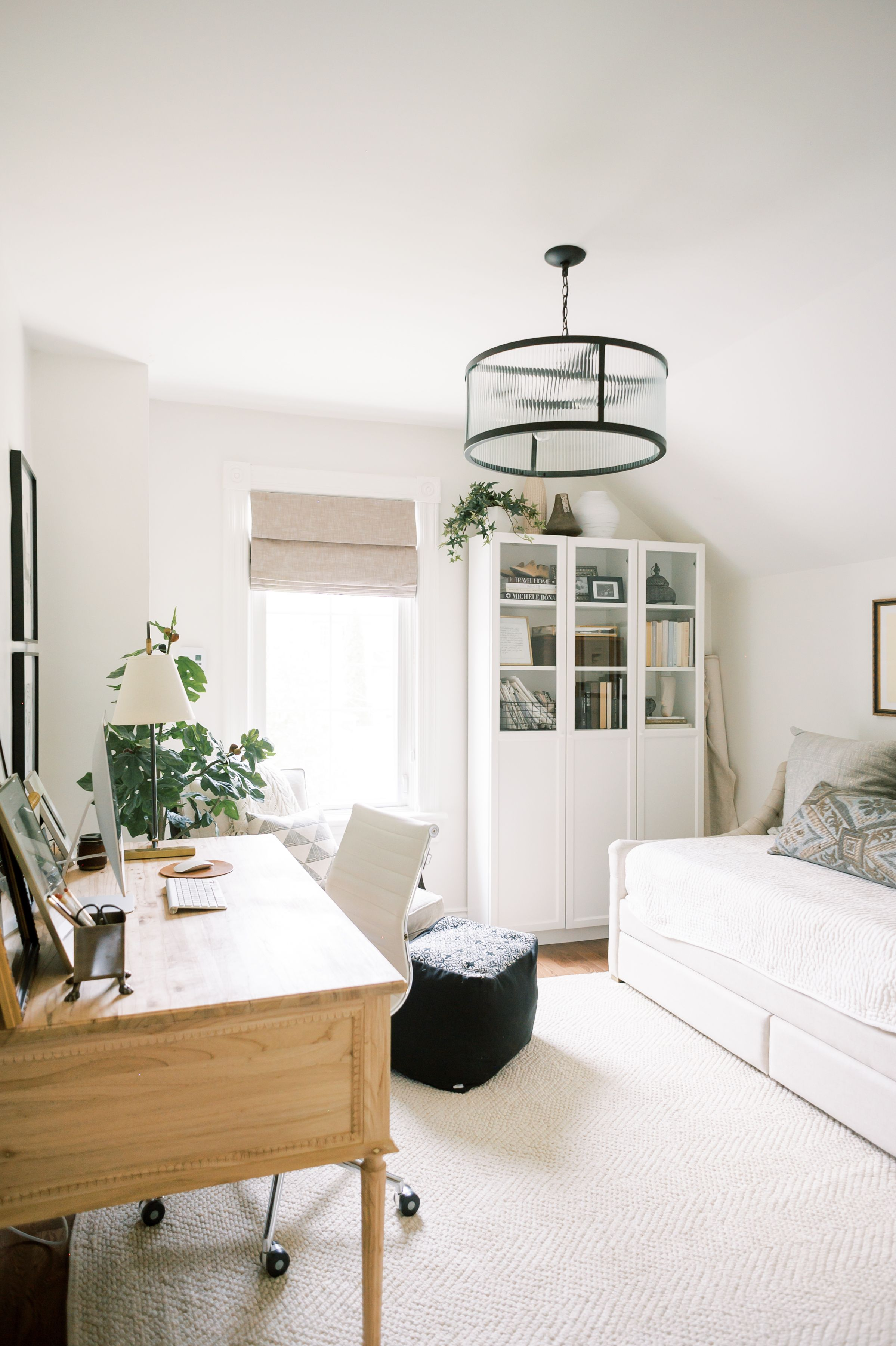 Guest Room Transformed Into Stunning Office for a Work From Home Mama