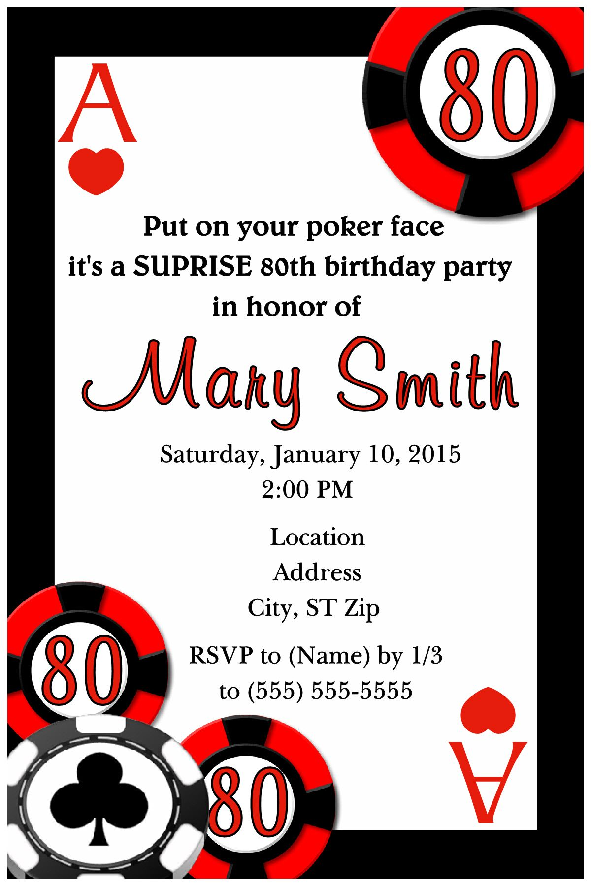 Casino Night, Vegas Party, Over the hill Birthday Invitation. Click ...
