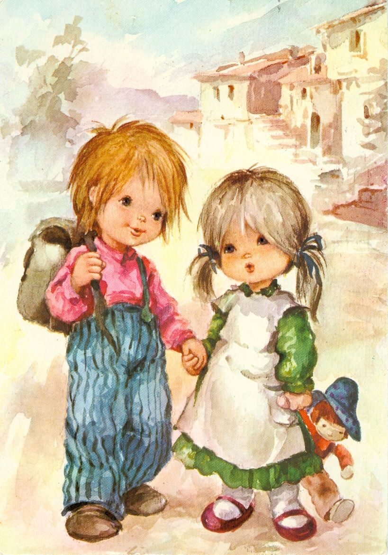 Старые рисованные открытки