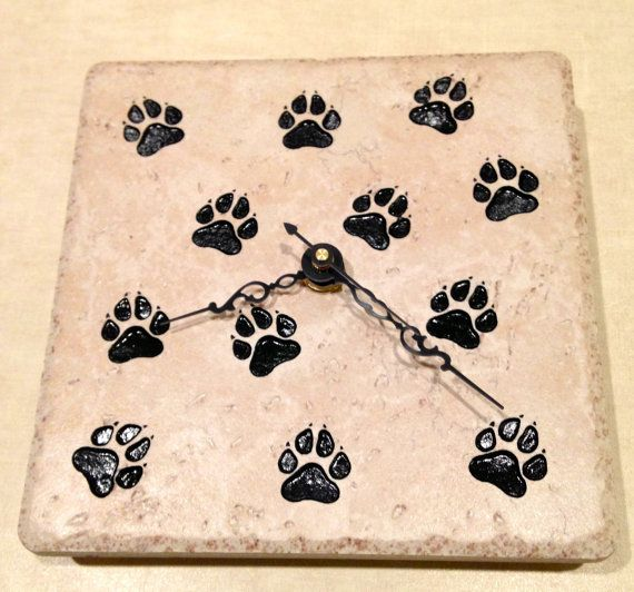 Sand carved tile 6x6 wall or desk clock with by CavemanCreations, $30.00