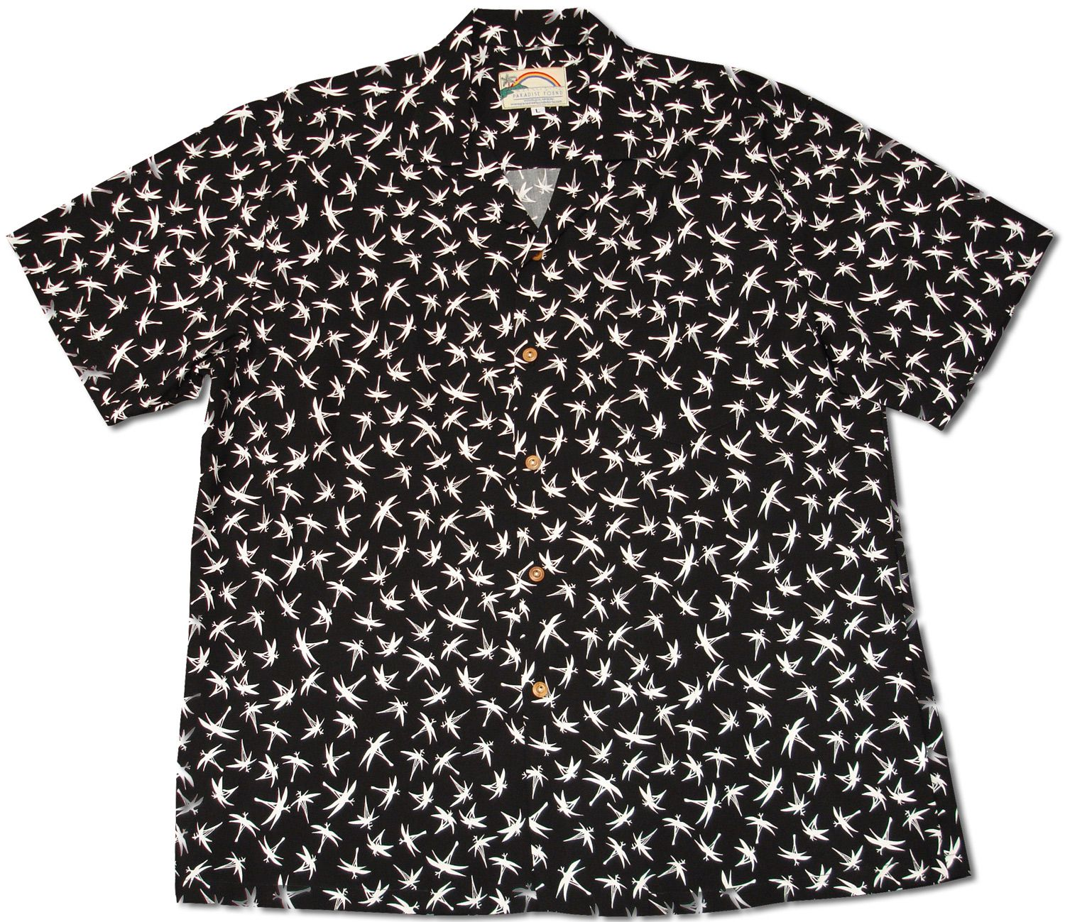 15361222 Magnum Bamboo Men's Paradise Found Hawaiian shirt created in Black and Navy  Blue. The Magnum