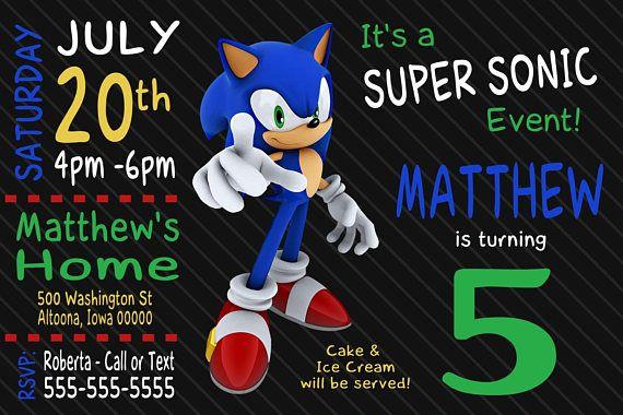 Custom Sonic The Hedgehog Birthday Invitation Print At Home