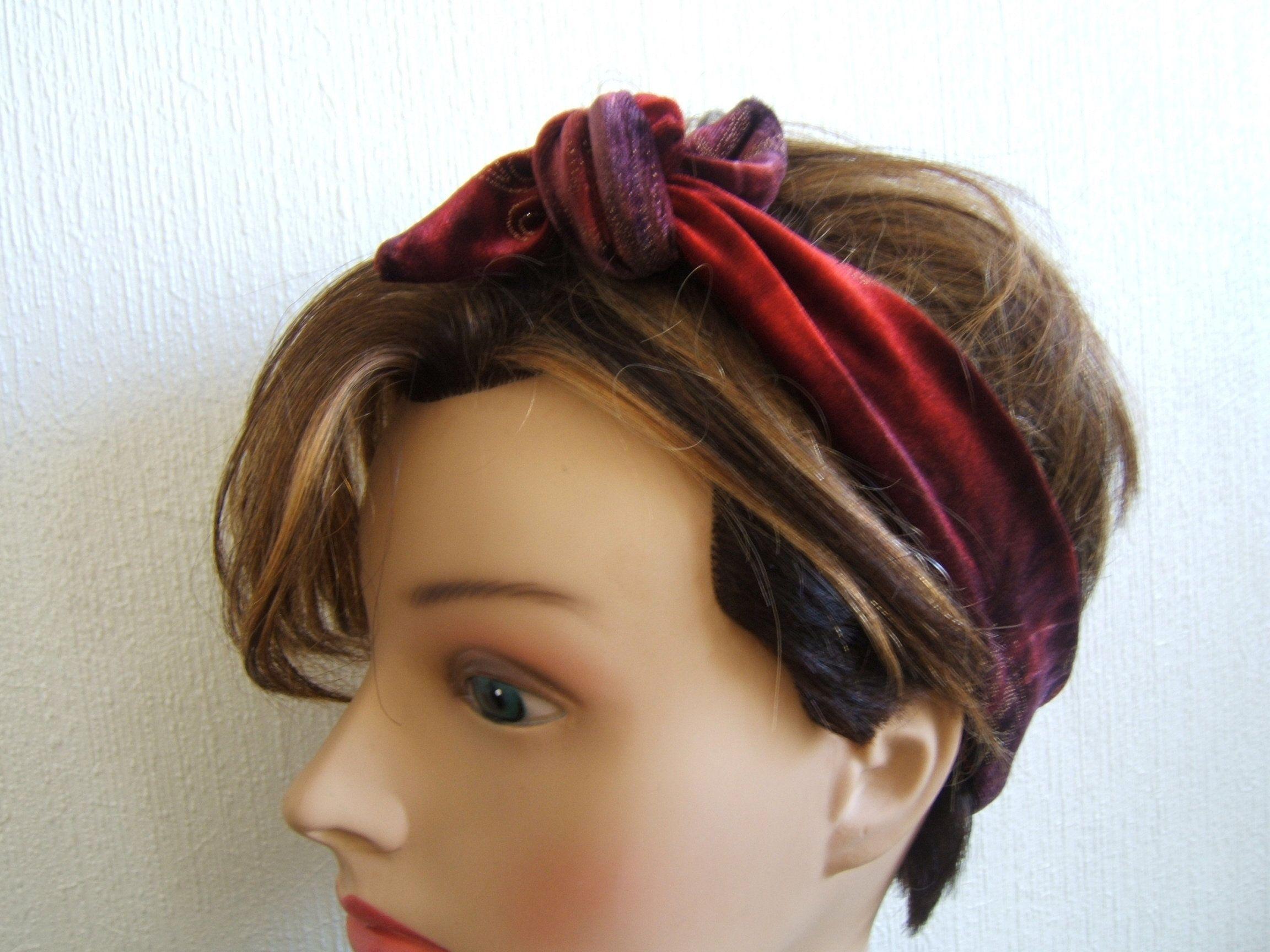 Foulard Turban Bandeau de Cheveux Headband en Velours Ras
