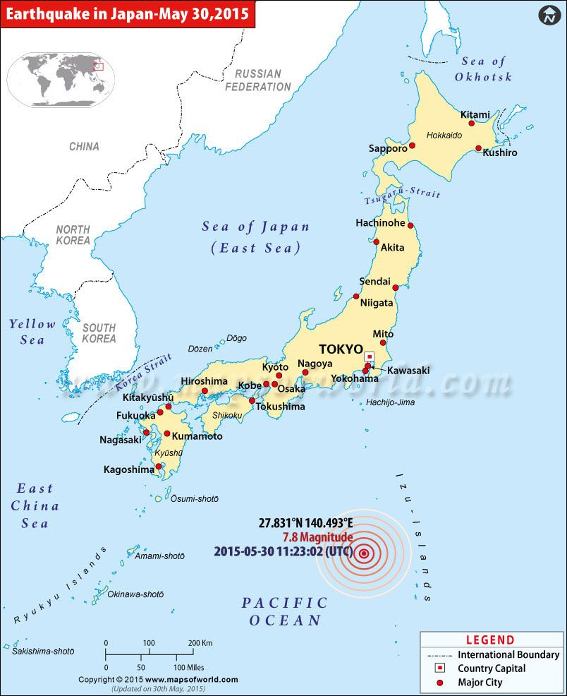 Japan Earthquakes Map, Areas Affected by Earthquakes in Japan | A
