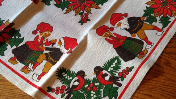 Vintage Swedish Printed Christmas Tablecloth Or Topper Signed Etsy Christmas Table Cloth Christmas Linen Christmas Greenery