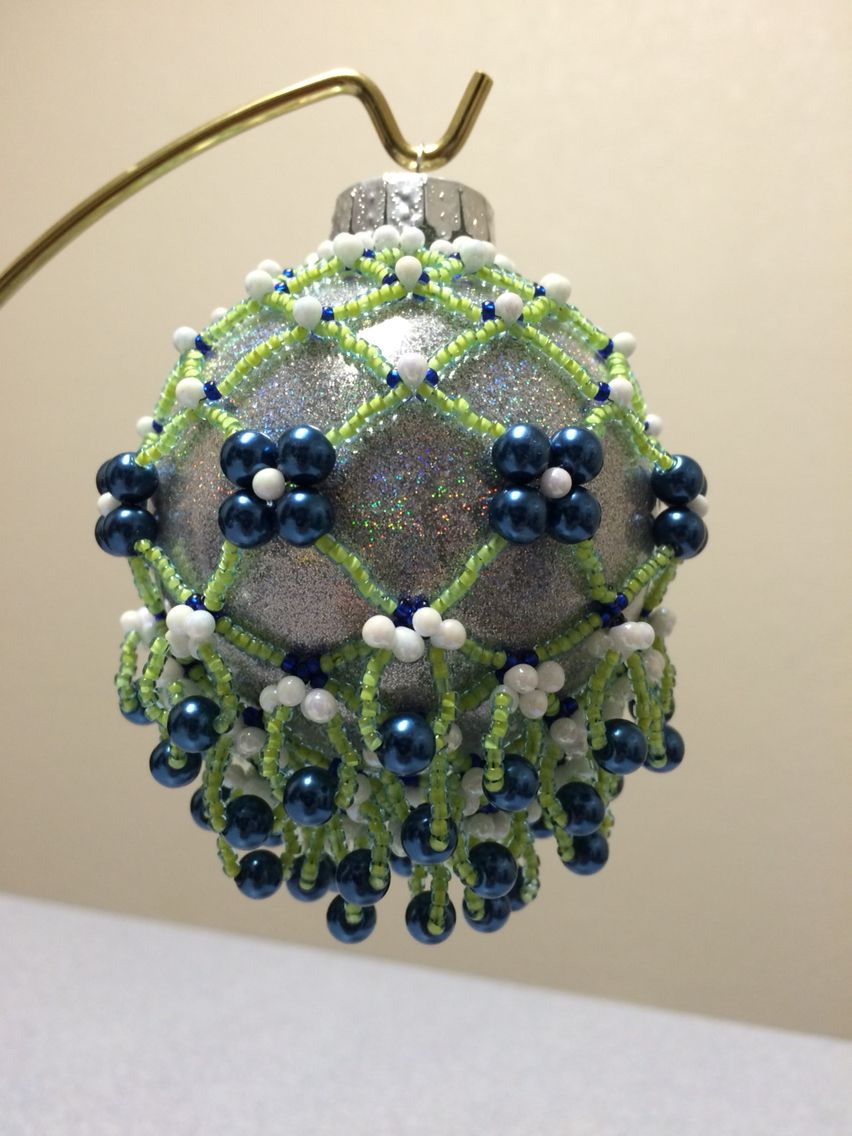 Beaded Ornament cover using Cathy Lampole's Fizzy Festive Champagne Ornament pattern. Used Seattle Seahawk colors! 2014