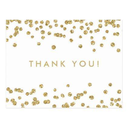 thank you note gold faux glitter confetti white postcard confetti
