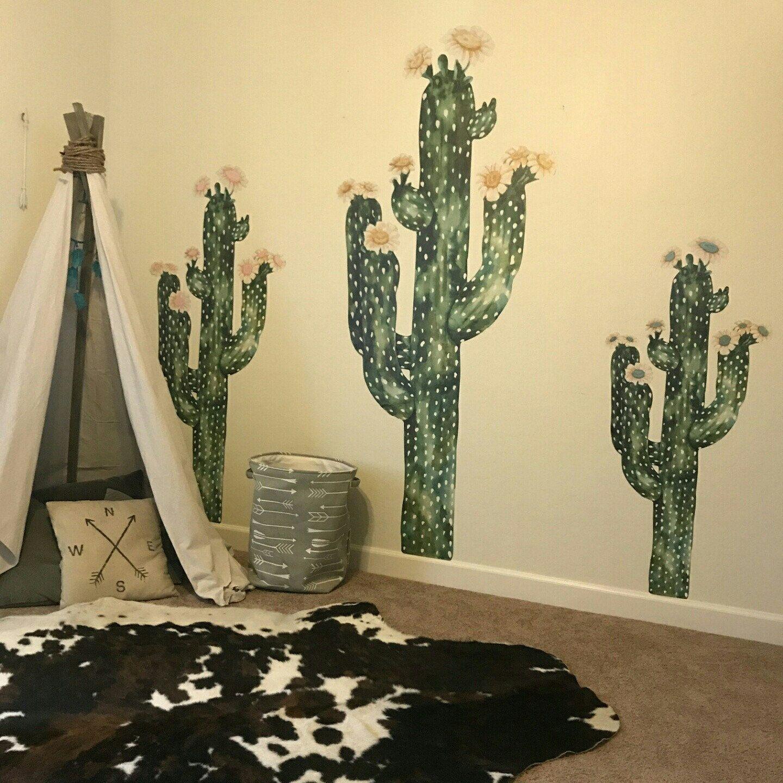 Saguaro Cactus Watercolor Wall Decal - Tall Cactus Wall Mural by ...