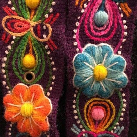 Cinturón Morado peruano bordado en lana de Huancayo - Perú