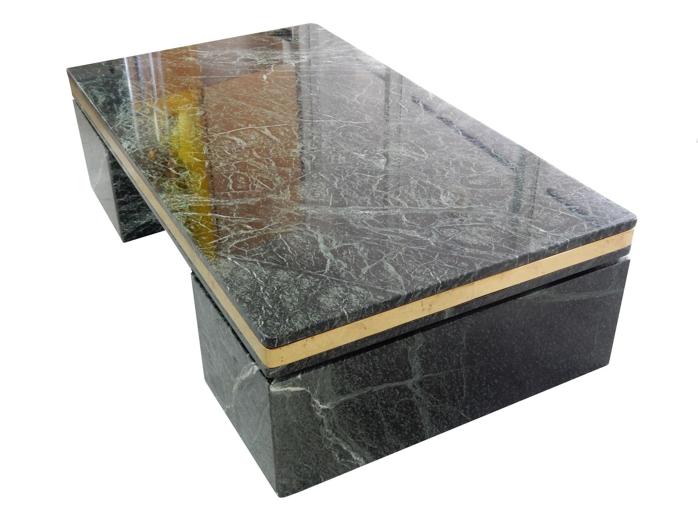 This vintage green marble coffee table is simple yet bold with a