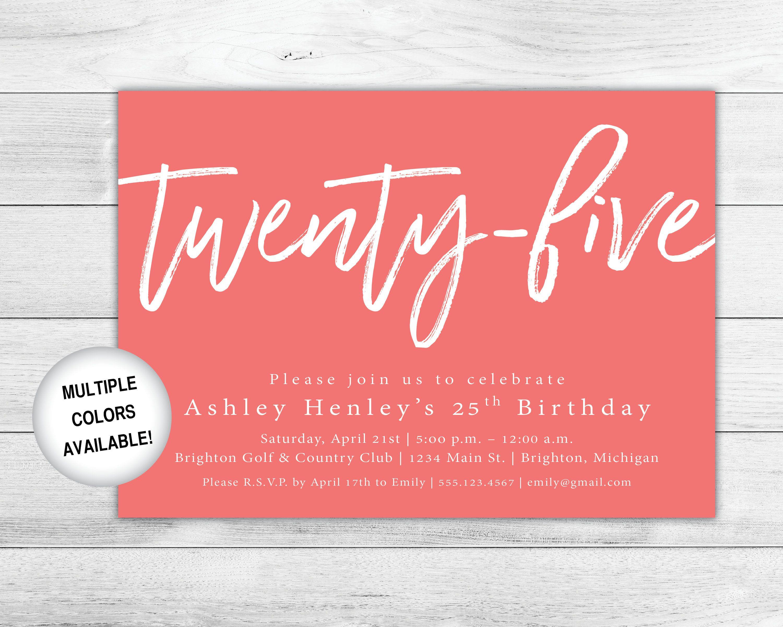 25th birthday invitation printable