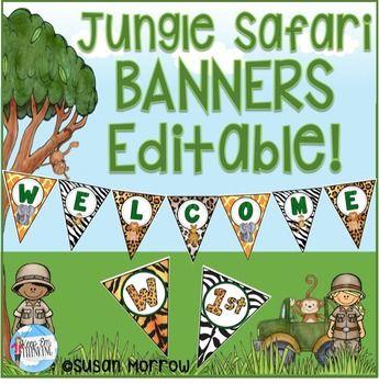 Jungle Theme Banners Editable! Jungle Themed Classroom Decor - new jungle powerpoint template