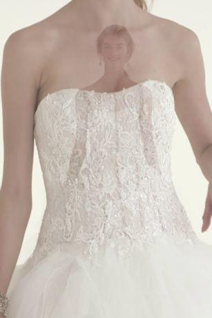 oleg cassini strapless ruffled skirt wedding dress  lace