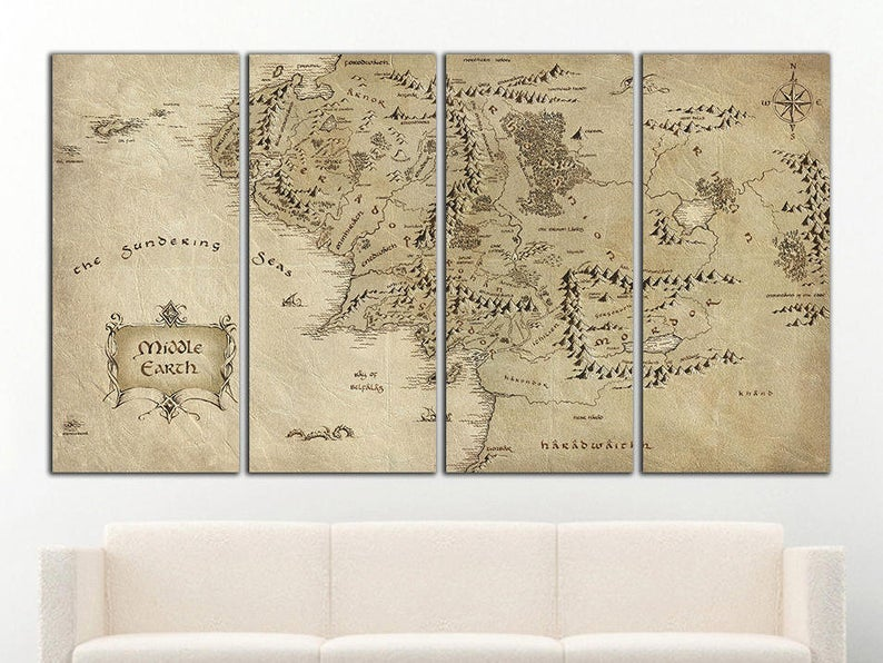 Middle Earth Map wall art Middle Earth canvas Middle Earth | Etsy
