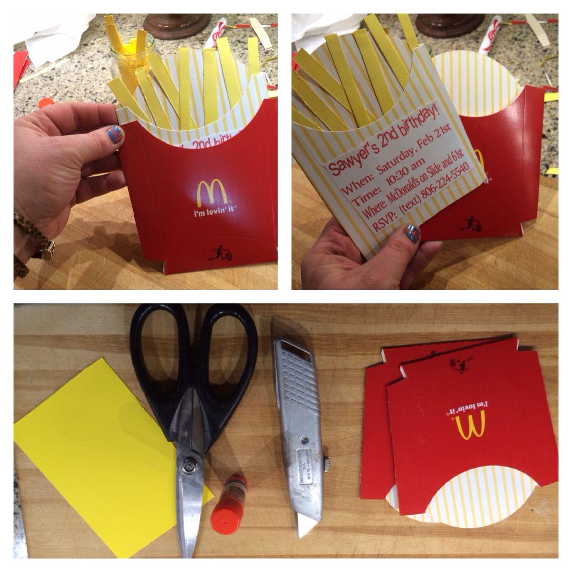 diy Mcdonalds birthday party invitations for 2nd birthday