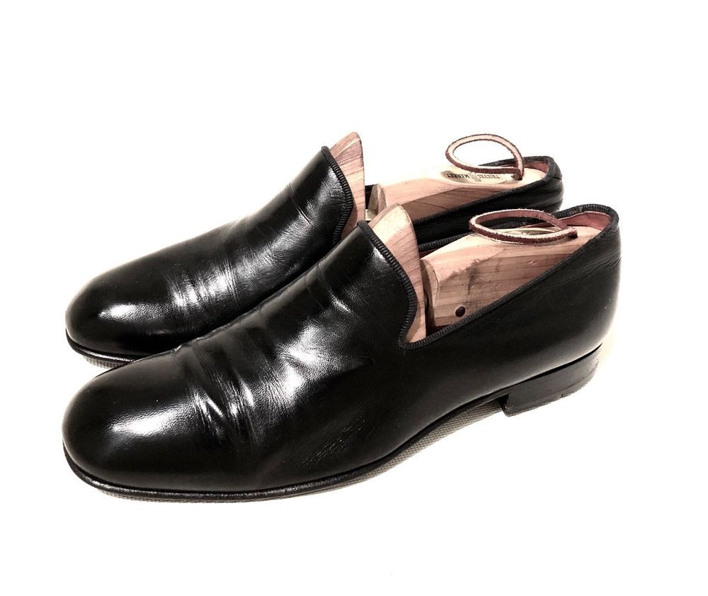 5b17f5eff6b78 Ermenegildo Zegna Mens Black Leather Slippers Loafers Mens Size 9 M ...