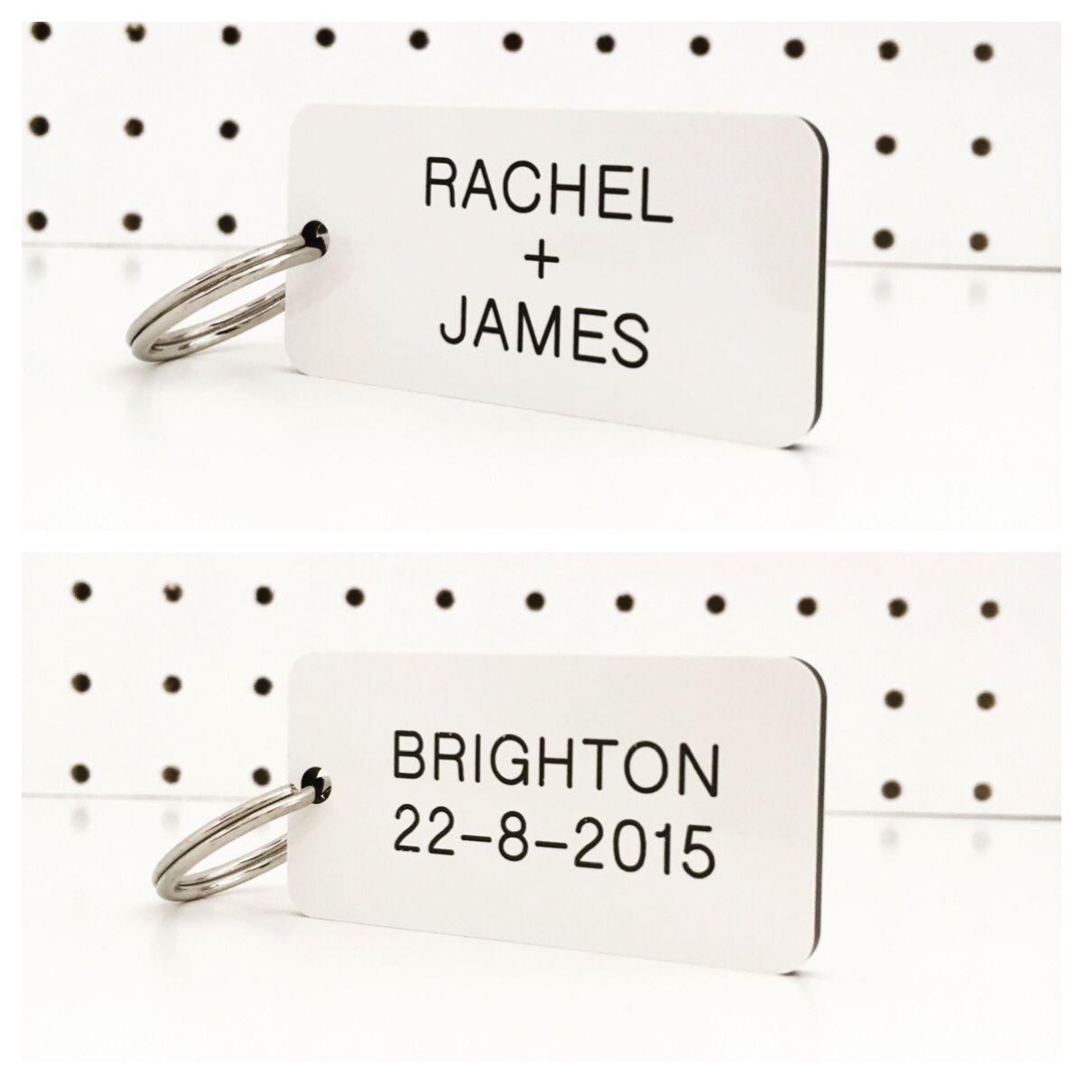 Wedding invitation / modern wedding favour KeyTag - a custom order ...