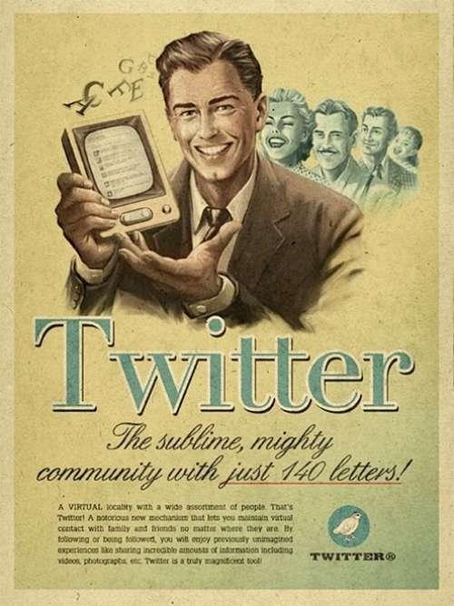 Vintage looking Twitter poster.