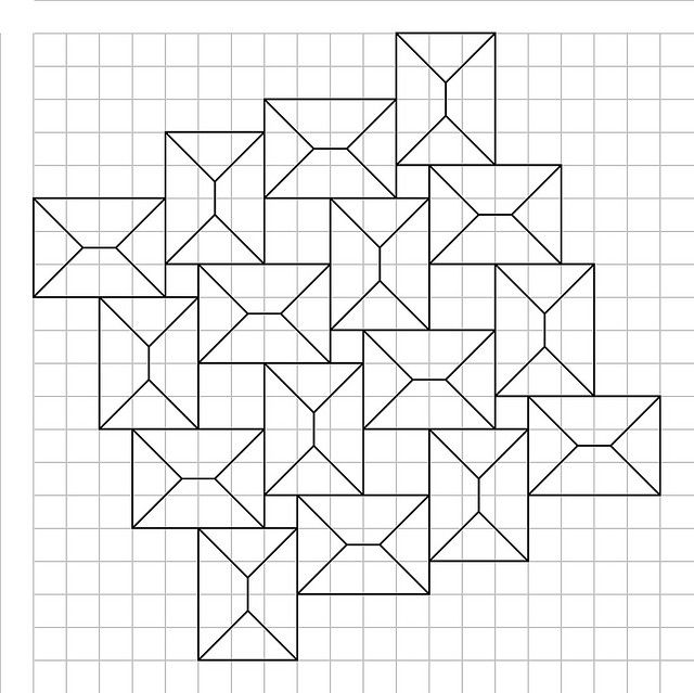 crease pattern for squares flagstone tessellation