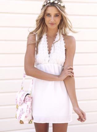 White Halterneck Mini Dress with Deep V Flower Crochet Top,  Dress, halter dress  crochet  v-neck, Bohemian (Boho) / Hippie Activation?