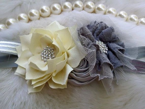 Hey, I found this really awesome Etsy listing at https://www.etsy.com/listing/240158191/silver-ivory-headbandflower-girl