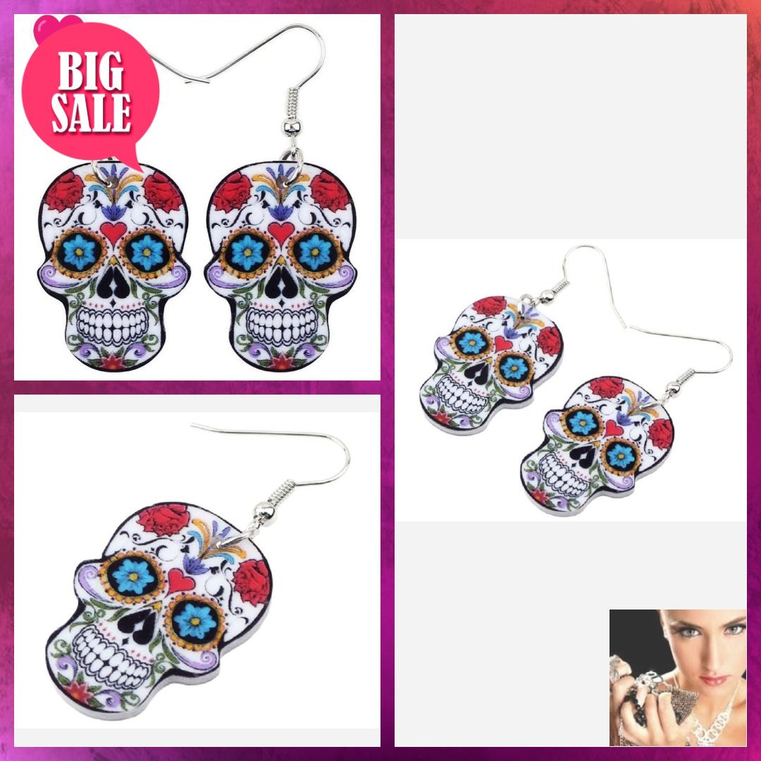 New Halloween Day of the Dead Rose Earrings