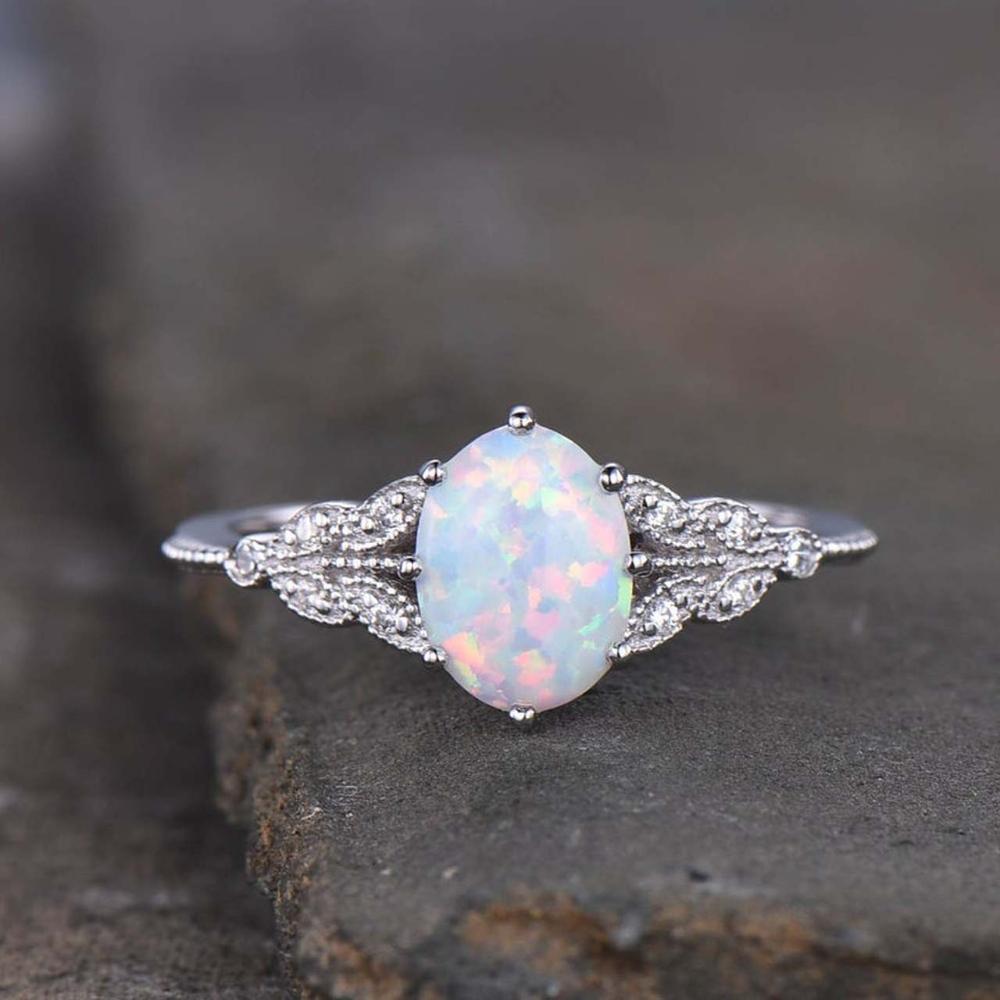 14k 18k Female Art Deco Opal Diamond Engagement Ring White Gold In 2020 Vintage Opal Engagement Ring Opal Ring Vintage Engagement Rings Opal