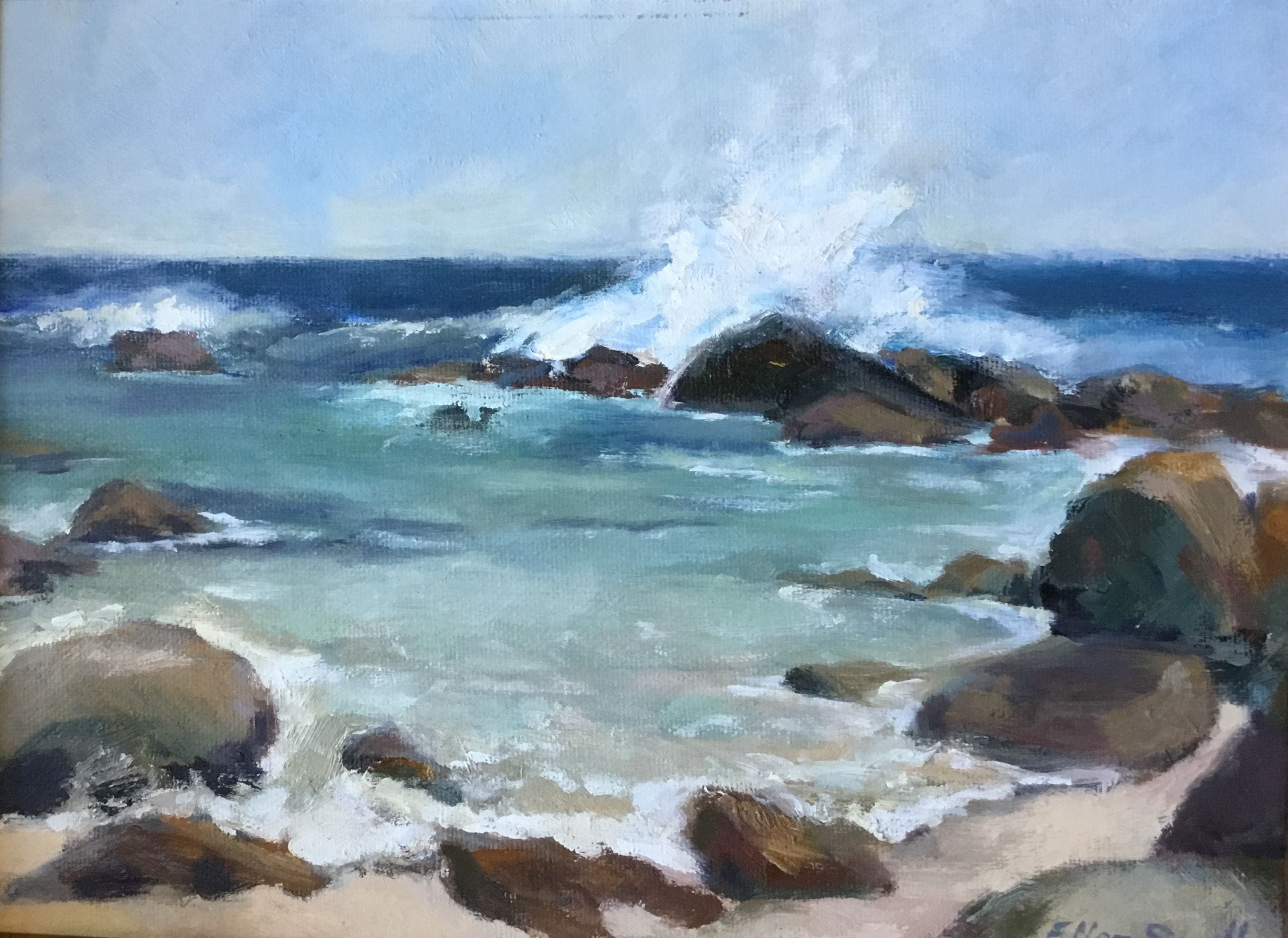 Cabo Beach Oil By Ellen Small Avec Images Aquarelle Marin