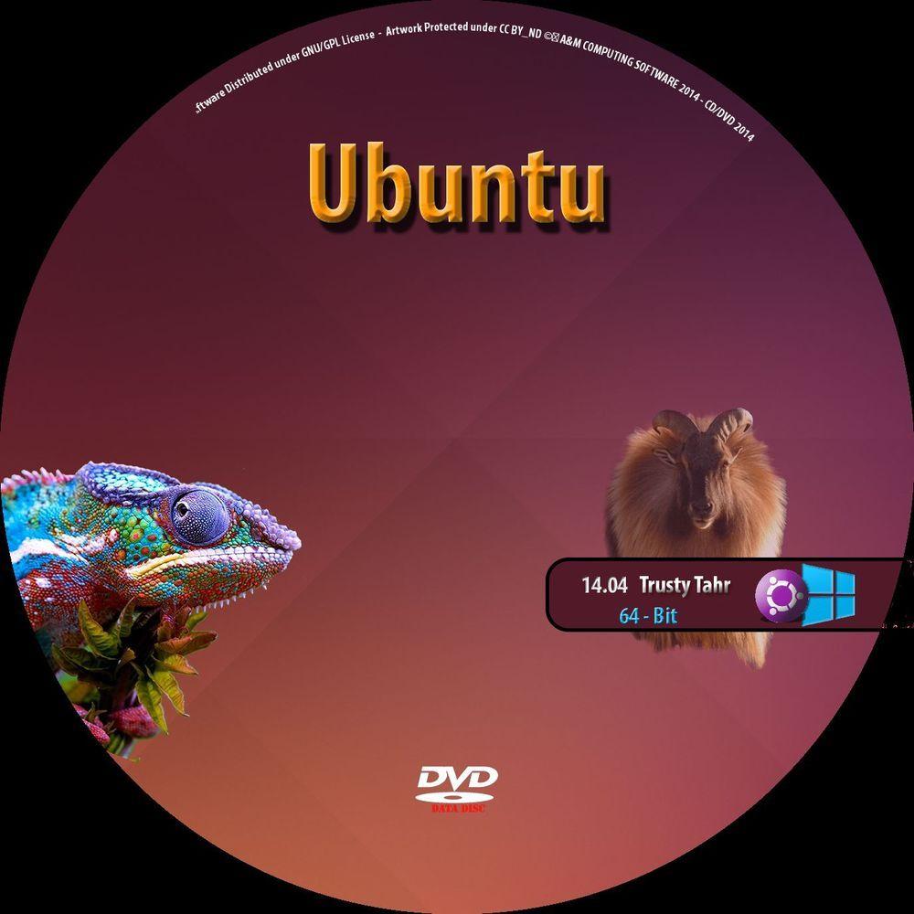 Ubuntu Linux 14 04 2 LTS 64 Bit Live Linux DVD Install Disc Replace