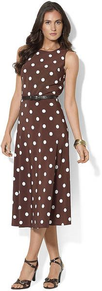 Lauren By Ralph Lauren Sleeveless Belted Dress in Brown (beige) | Lyst