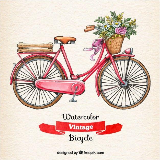Bicicleta vintage de acuarela  8b1f66a5ca3cb