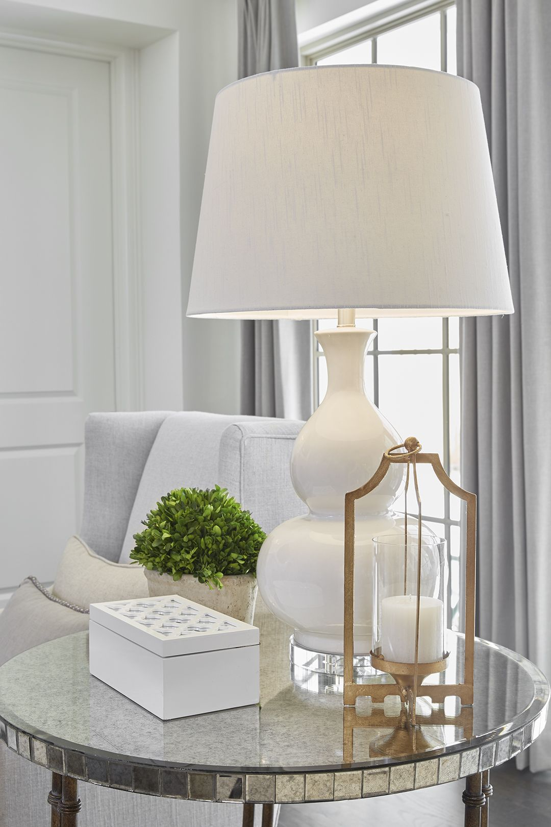 Living Room End Table Decor Lighting White Side