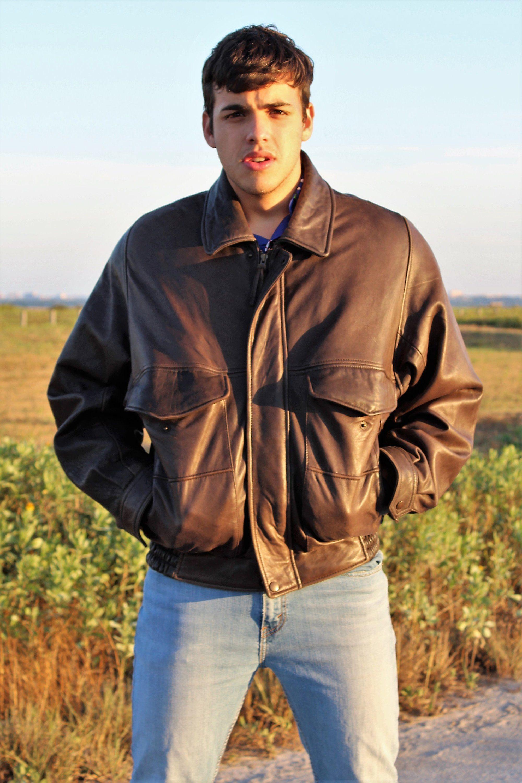 e4102b1b3a2f Bomber Jacket   J Park, Medium, Brown Leather Bomber Jacket, Boyfriend  Gift, Men Jacket, Leather Gift, Vintage 90s, Mens Jacket, Leather