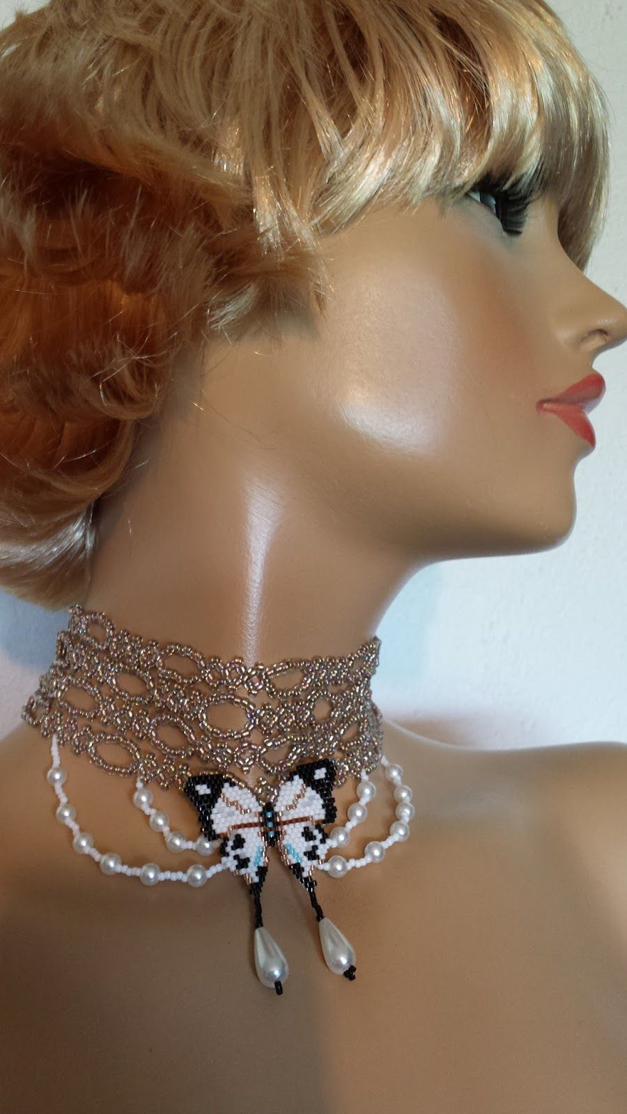 'Delicate' necklace by Lena Tamas (www.lenahandmadefashion.blogspot.co.uk).  Made with Japanese beads, crystals and pearls
