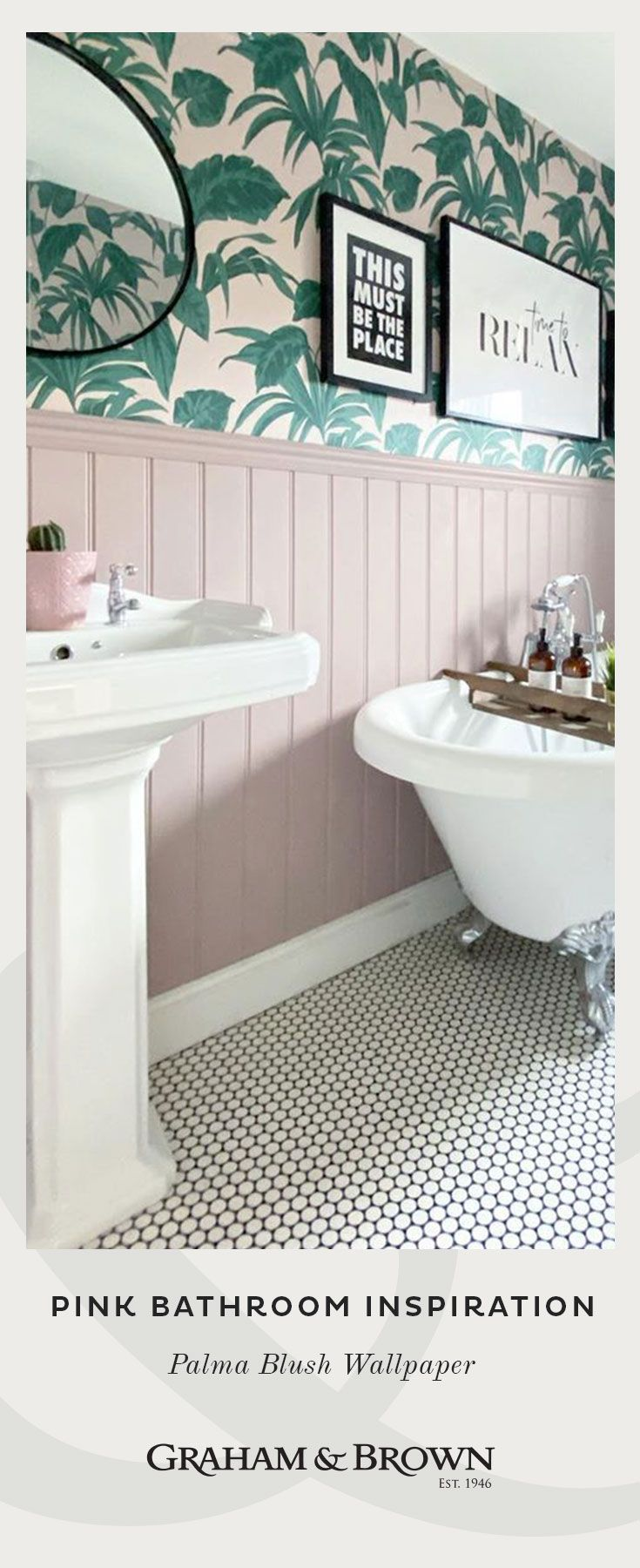 How to Incorporate Pink into your Bathroom Decor   Botanical Wallpaper