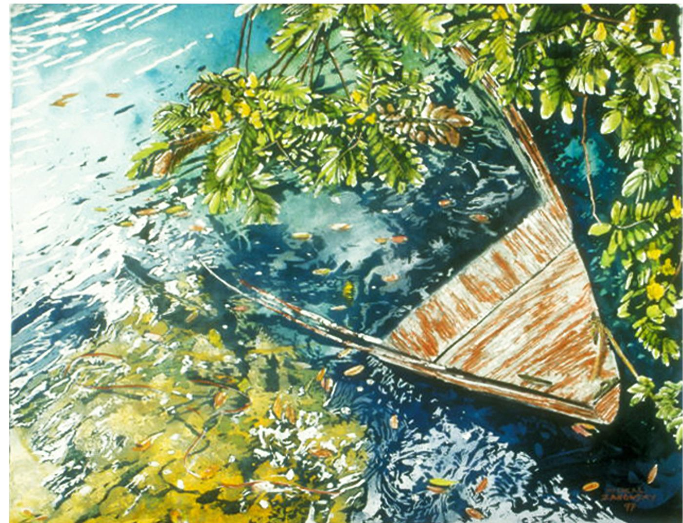 "boat full of rain 22"" x 30"" riddell bay bda  micheal zarowsky / watercolour on arches paper / (private collection)"