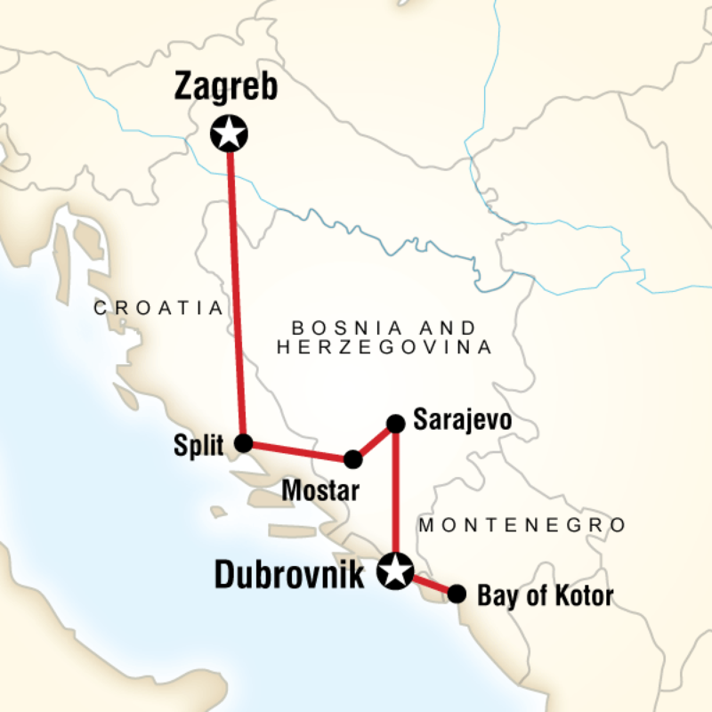 Map Of The Route For Western Balkans Adventure Travel Tours Balkan Eastern Europe Travel