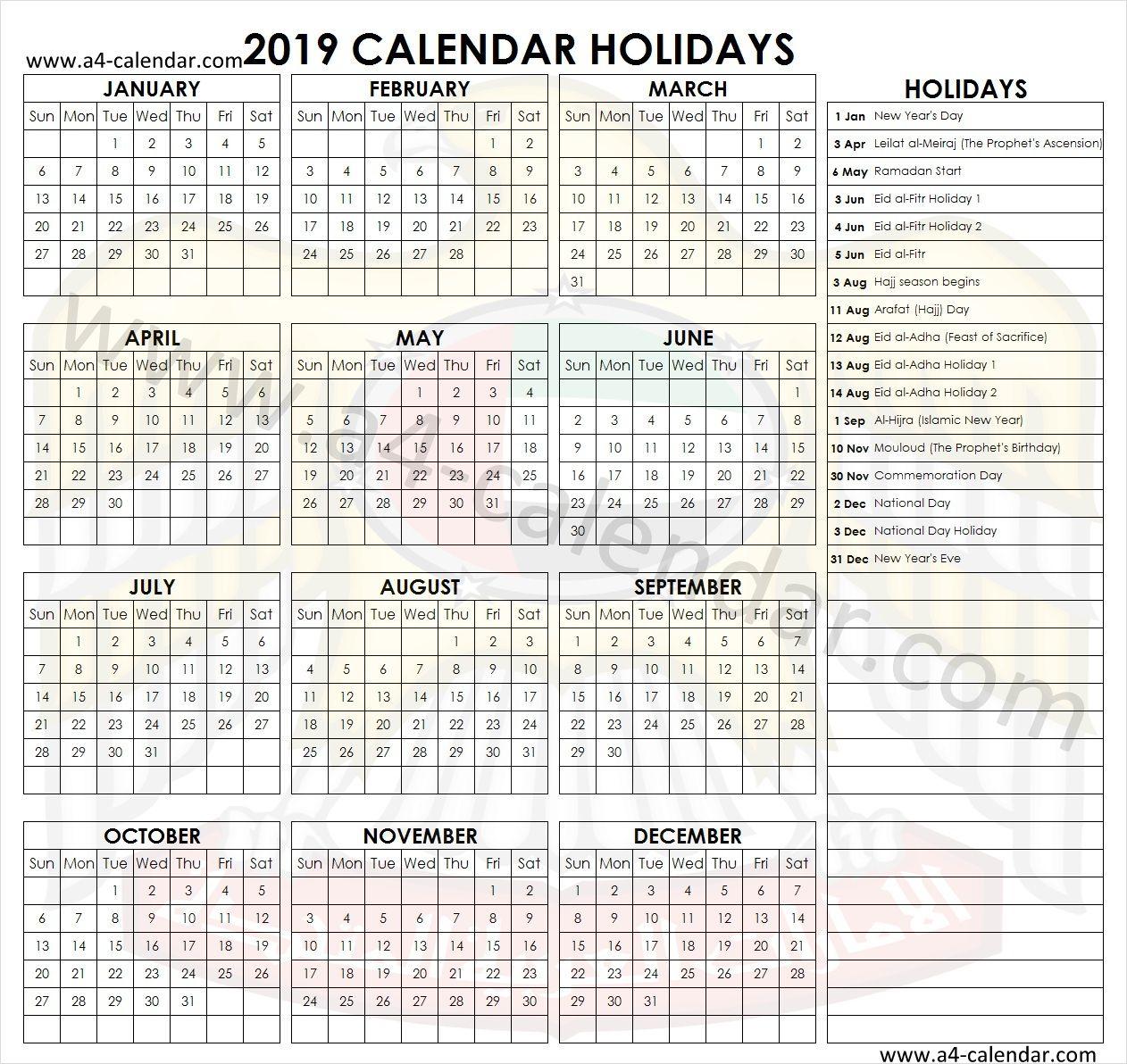 United Arab Emirates Holidays 2019 Holiday Calendar Holiday Calendar Printable Holiday Templates