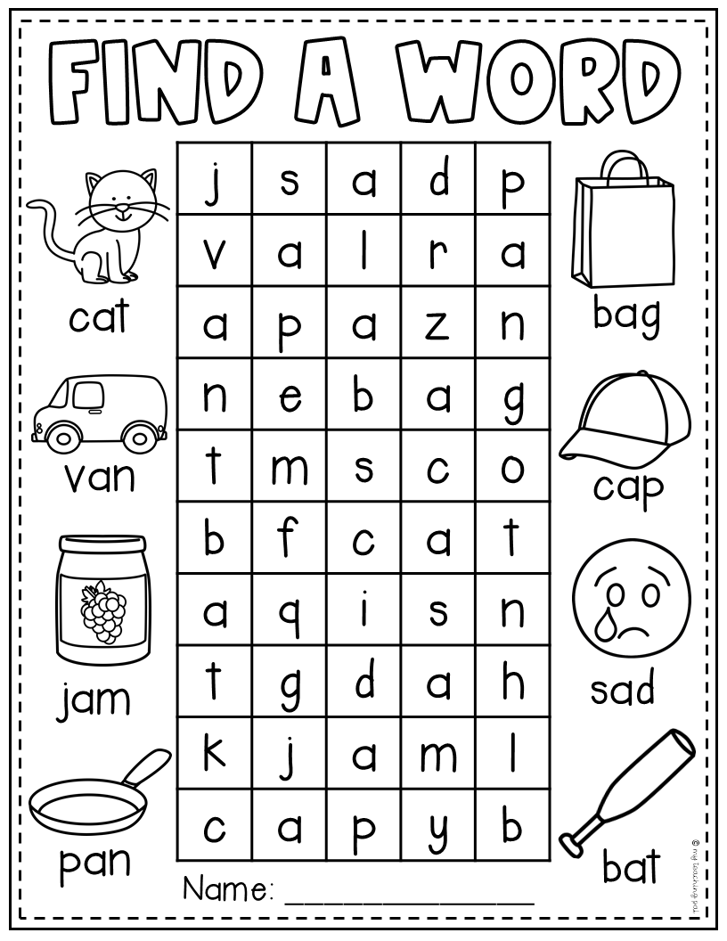Find a Word  CVC Worksheets - English worksheets for kids, Cvc worksheets, Cvc words kindergarten, Word puzzles for kids, Kindergarten math worksheets, Cvc words - These Find a Words are filled with CVC words to help your little ones practice their short vowel words  They are the perfect addition to literacy centers, homework or fast finisher activities  There are word searches that cover each short vowel sound as well as a few mixed ones ♥♥♥ Follow me to be