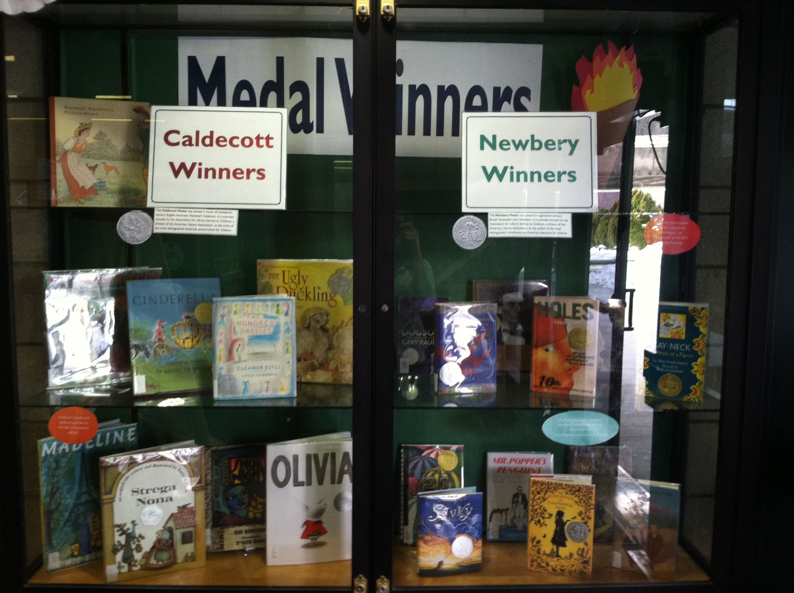 Medal Winners Book Display Of Caldecott And Newbery Winners Showcase