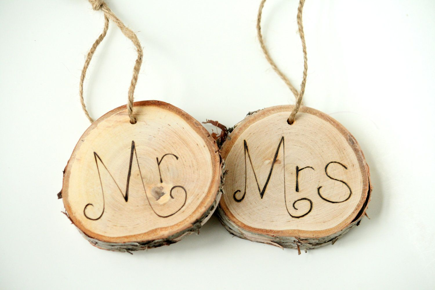 Mr and Mrs Large Birch Tree Ring Reception Signs - Birch Wood Perfect for Beach Garden Rustic Wedding. $28.00, via Etsy.