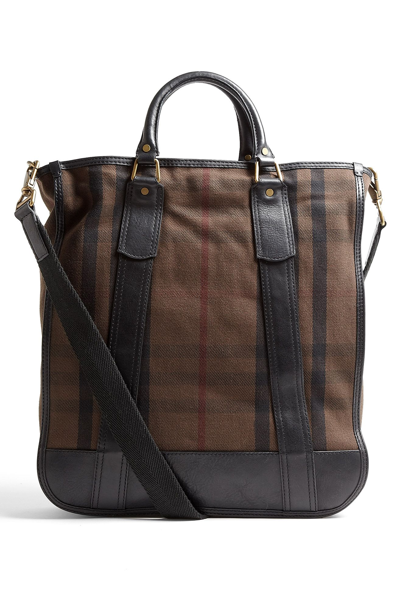 84999a7db755 Chocolate signature check canvas tote bag by Burberry Brit featuring black  leather trim