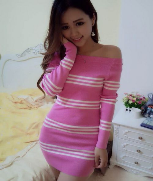 2014 Versatile Slim Cut Women Sweater Dress Pure Color Striped Long Sleeve Boat Neck Pink Dress