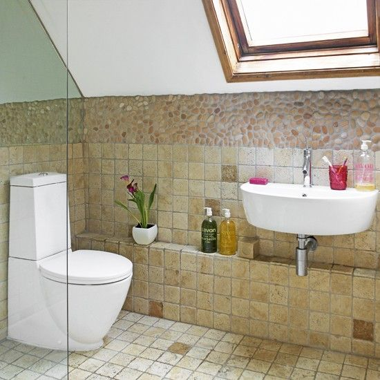 Attic bathroom with sloping ceiling Attic bathroom, Bathroom - wohnideen small bathroom