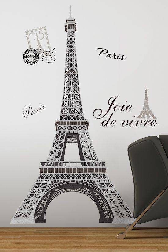 Black Silver Giant Eiffel Tower Wall Decals Big Mural Stickers