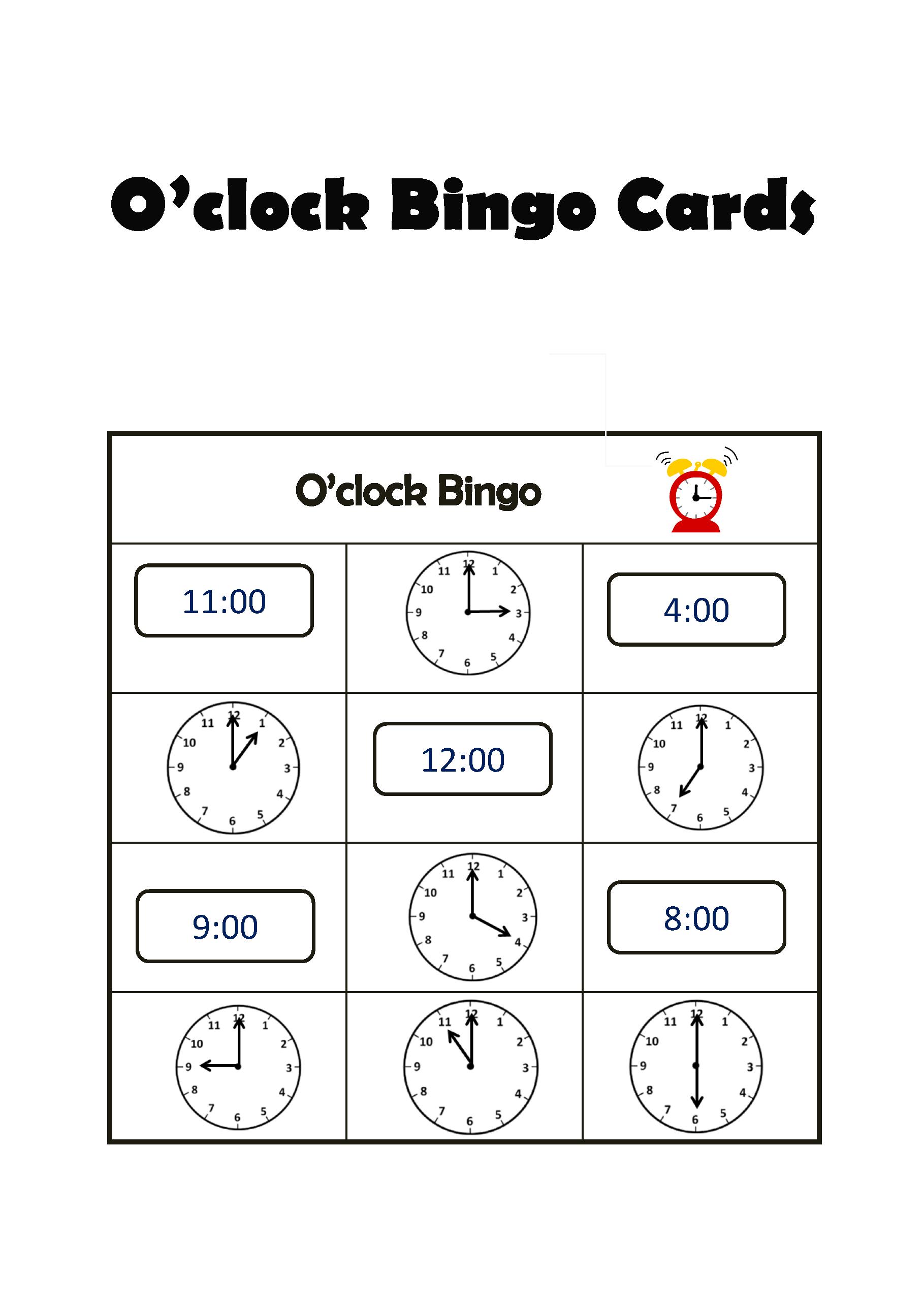O Clock Bingo