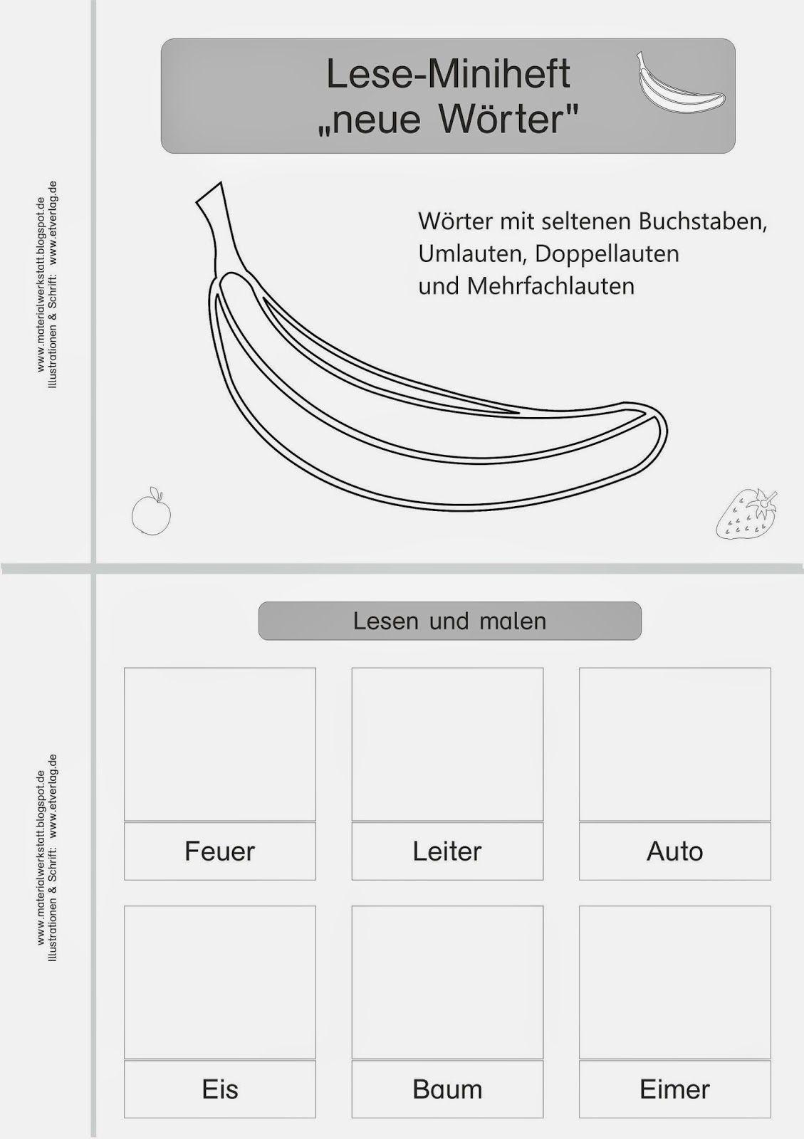 materialwerkstatt lese miniheft erste w rter schule f rderschule deutsch lesen deutsch. Black Bedroom Furniture Sets. Home Design Ideas